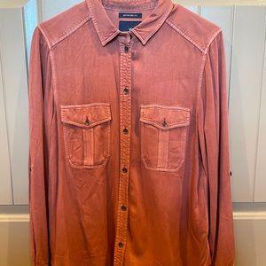 Burnt orange button up flannel shirt